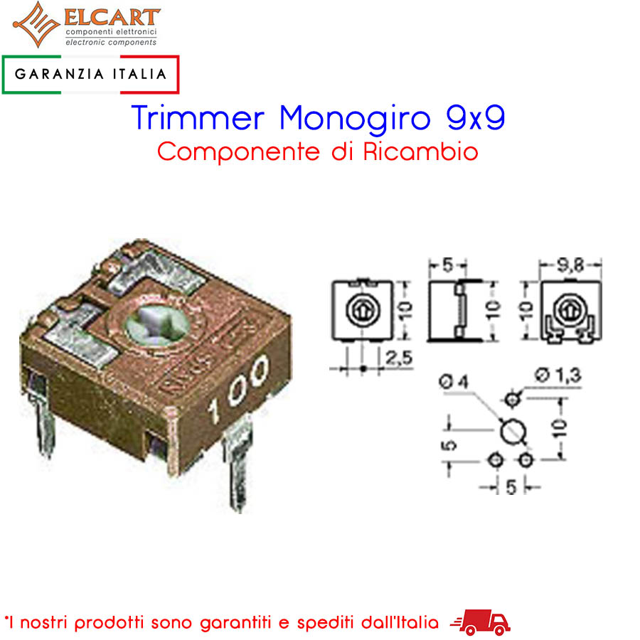 Trimmer monogiro 9x9 idoneo come ricambio 02/00643-00